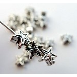 6mm Star Beads, Antique Silver (20)