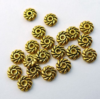 6mm Spiral Jewelry Daisy Spacer Beads, Antique Gold (20)