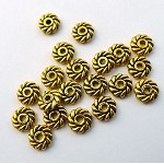 6mm Spiral Spacers, Jewelry Spacer Beads, Antique Gold, Bulk (20)