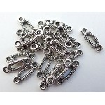 Striped Jewelry Link Connectors, Antique Silver (20)