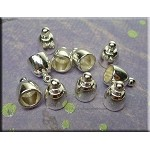 Domed Bell Endcaps with 5.5mm Opening, Antique Silver (10)