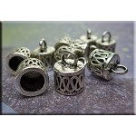 Silver Pewter Bali Style Endcaps with 7mm Opening Kumihimo-Tassel End Caps 10 per bag