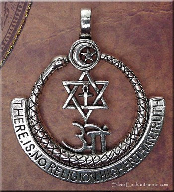 Interfaith Pendant There Is No Religion Higher Than Truth w Om, Ankh, Star, Large