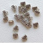 Small Decorative Bails with 2mm Hole, Antique Silver (20)