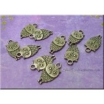 Bronze Owl Charms, Double-Sided (10)