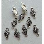 Rose Jewelry Findings, Antique Silver Flower Connectors (10)