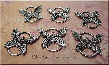Butterfly Jewelry Connectors, Antique Silver (6)