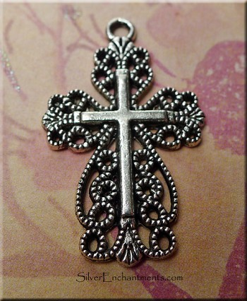 Filigree Lace Cross Necklace, Antiqued Silver