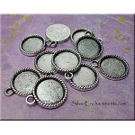 Round Bezel Pendants for Glue in and Glaze Projects, Rope-edge (10)