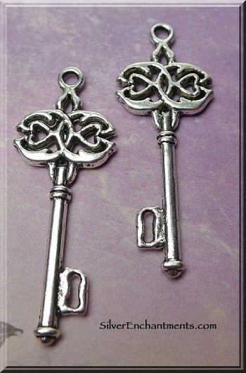 Tibetan Silver Celtic Key Pendants, 45x17mm, Bulk (10)