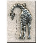 Large Giraffe Pendant, Antiqued Silver Giraffe Necklace