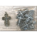 Wholesale Lacy Cross Pendants, Antiqued Silver, 32x20mm,  Bulk (10)
