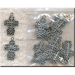 Lacy Cross Charms, Antique Silver 21x14mm (10)