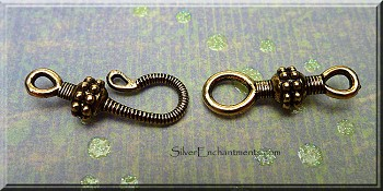 10 Gold Pewter Hook and Eye Clasps 25mm
