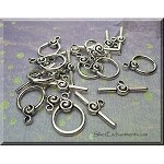 Toggle Clasps with Spiral, Antique Silver (10)