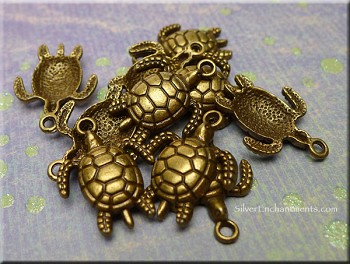 Antique Bronze Pewter Turtle Charms 10 pieces