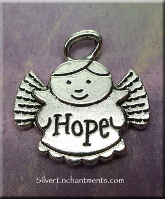 Hope Angel Pendant Antique Silver