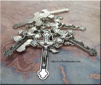 Crucifix Pendants, Antique Silver Catholic Cross Pendants (10)