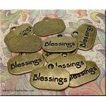 Brass Blessings Charms, Blessings Word Charms (10)