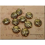 Fancy Spiral Beads, 10mm, Antique Gold, Bulk (10)