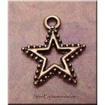 Star Charm with Dotted Rim, Antique Copper Finish