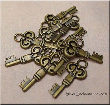 Bronze Key Charms-Pendants, Double-Sided Antique Brass (10)