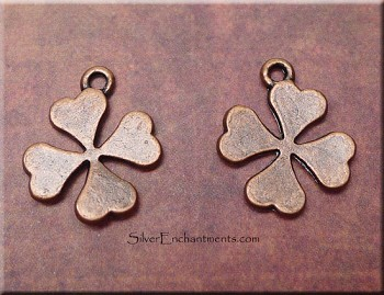Copper 4-Leaf Clover Earrings, Shamrock Earrings