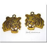 Double Sided Tiger Pendant, Antique Gold 25mm