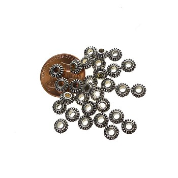 6mm Spacer Beads with 2mm Hole, Antique Silver (30)