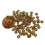 4mm Daisy Spacers, Antiqued Gold Daisy Jewelry Spacer Beads (100)