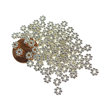 5mm Daisy Spacers, Bright Silver (100)