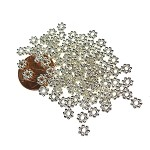 5mm Daisy Spacers, Bright Silver Daisy Jewelry Spacer Beads (100)