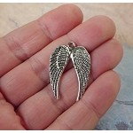 Double Angel Wing Pendants, Antique Silver (10)