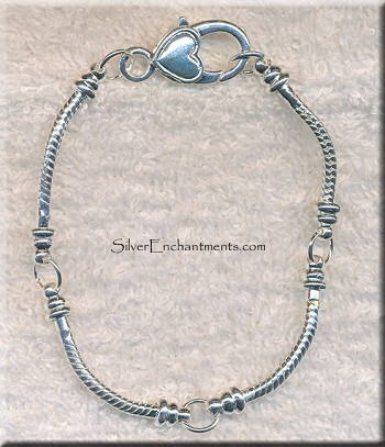 Segmented Large Hole Bracelet with Heart Lobster Closure