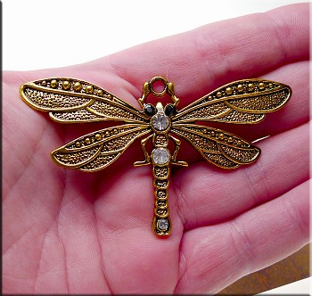 Large Dragonfly Pendant Necklace with Crystals