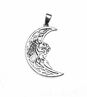 Silver Celtic Tiger Moon Pendant or Necklace