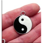 Yin-Yang Necklace, Enameled Black and White