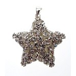 Silver Crystal Star Pendant, Puff Star, Bailed