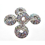 Large Hole Silver Plated Rhinestone Crystal Spacer Bead, Crystal AB Crystals