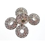 Large Hole Silver Plated Rhinestone Crystal Spacer Beads, Crystal Crystals, 5pc