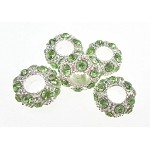Large Hole Fancy Rhinestone Crystal Spacers, Peridot