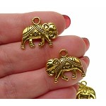 3D Indian Elephant Earrings Antique Gold tone