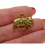 3D Indian Elephant Necklace Antique Gold tone