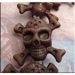 Acrylic Pendant Beads, Brown Skull Jolly Roger Double Sided