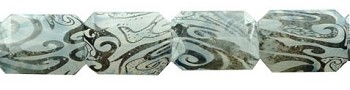 Acrylic Beads, Black and White Swirl Faceted Rectangle