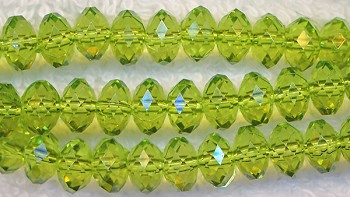 6mm Peridot Green Faceted Rondelle Acrylic Beads