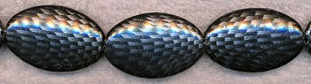 Acrylic Beads, Black and Metallic Silver Oval 42x28mm