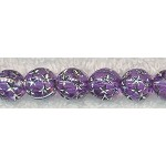 Acrylic Beads, Purple with Silver Stars Round 10mm
