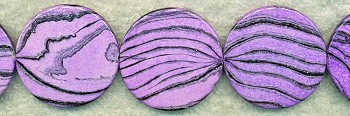 Acrylic Beads, Purple Zebra Print 40mm Coin