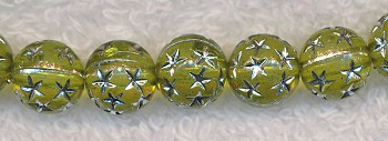 Acrylic Beads, Peridot Green with Silver Stars Round 10mm